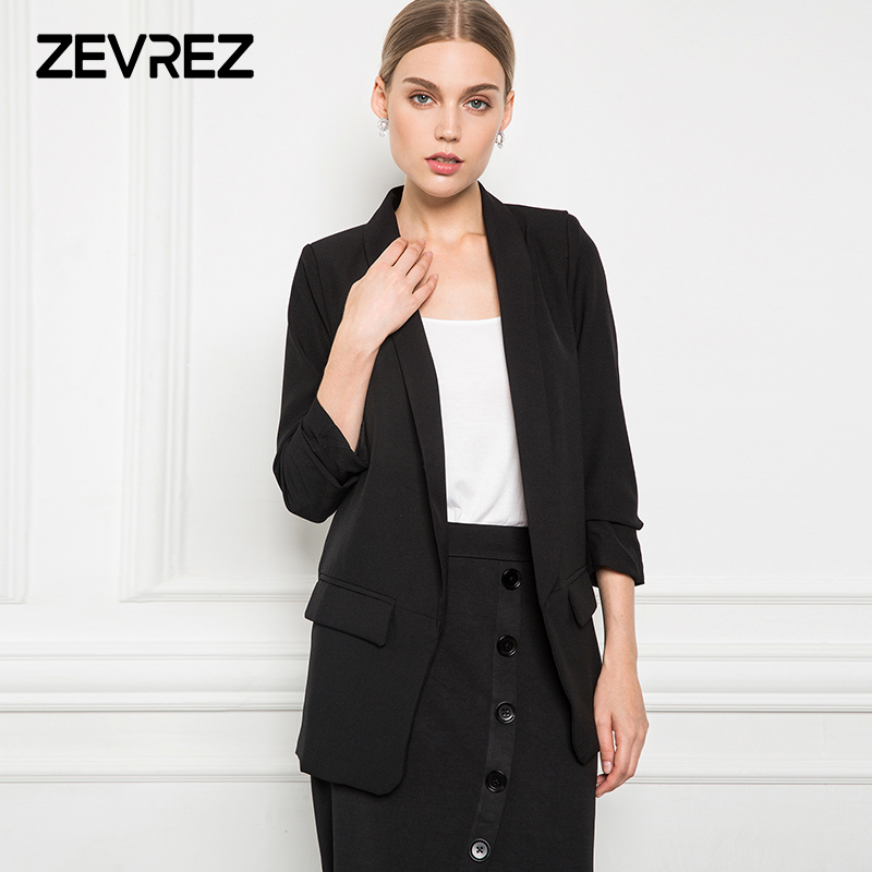 6 Colors Blazer Women Slim White Black Blazer Crimping Sleeve None Button Work Office Ladies Blazer Jacket Plus Size 5xl Zevrez