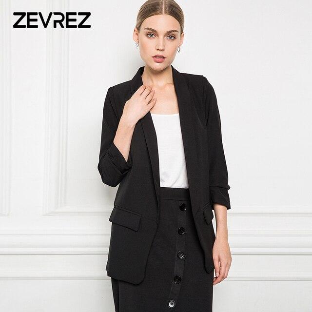 6 цветов Блейзер Женский Тонкий Белый Черный Блейзер обжимной рукав без пуговиц офисный Женский блейзер куртка плюс размер 5XL Zevrez