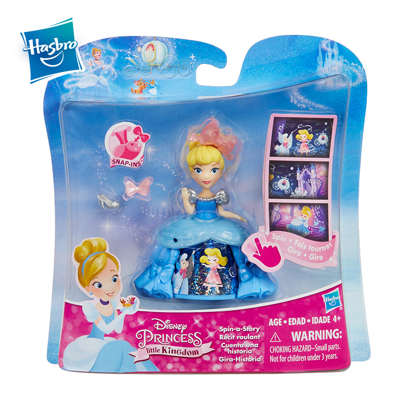 Hasbro Disney Princess 3Inch Little Kingdom Spin A Story Belle Cinderella Tiana Beauty Rotate Toy Dolls Christmas Gift For Girls in Dolls from Toys Hobbies