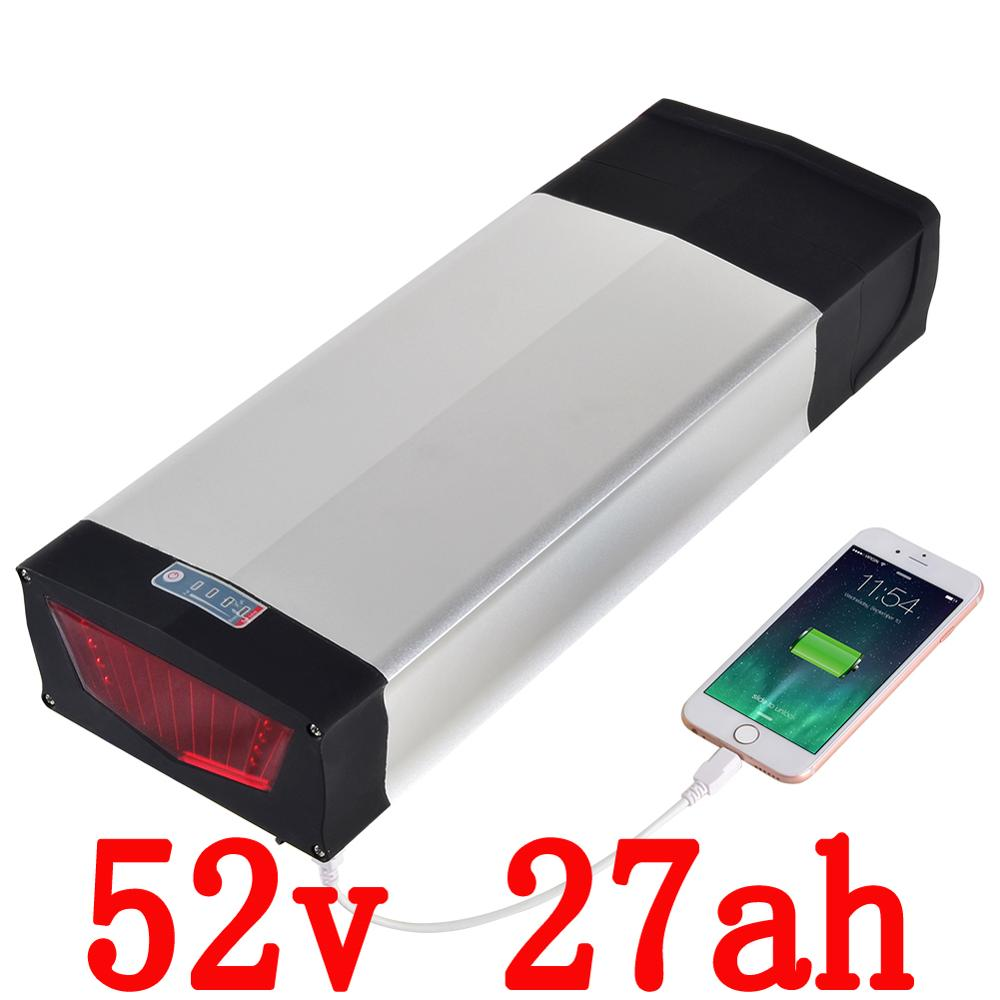 Free customs fee  Rear Rack 51.8V 27Ah Electric Bike Battery 52V 1500w Li ion Battery Pack for Sport e bike with 2A Charger free customs taxes and shipping li ion ebike battery pack 24v 8ah 350w electric bike kit battery hailong e bike with charger