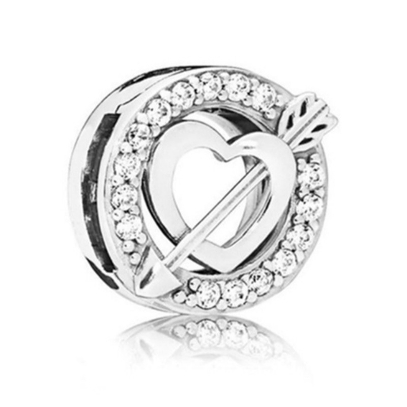 2019 NEW 100% 925 Sterling Silver Valentines Day Reflexions Asymmetric Heart And Arrow Clip Charm High Quality Jewelry Gift2019 NEW 100% 925 Sterling Silver Valentines Day Reflexions Asymmetric Heart And Arrow Clip Charm High Quality Jewelry Gift