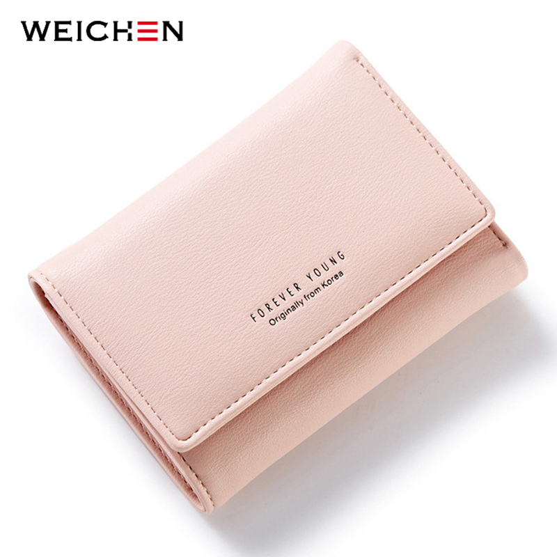 WEICHEN Simple Style PU Leather Hasp & Zipper Wallet For Women, Hot Lady Small Fashion Wallets Solid Coin Purse Clutch Carteras weichen pink love heart short wallet purse for fashion lady lovely mini day clutch