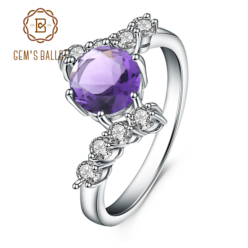 GEM'S BALLET 1.35Ct Round Natural Amethyst Gemstone Ring 925 Sterling Silver Wedding Engagement Rings for Women Fine Jewelry