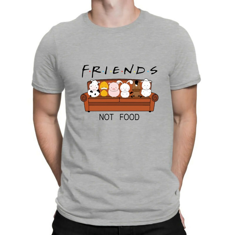 New Animal Friends Not Food Funny Parody T Shirt Vegan Vegetarian No Meat Men Fashion Short Sleeve O Neck Cotton Print T Shirt-in T-Shirts from Men's Clothing