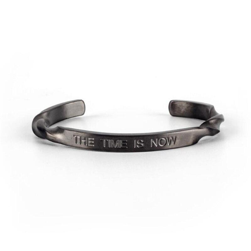 Gun Black Stainless Steel Spiral Bracelet Men Retro Engraved letter Mens Bracelets & Bangles Love Bracelet pulseira masculina