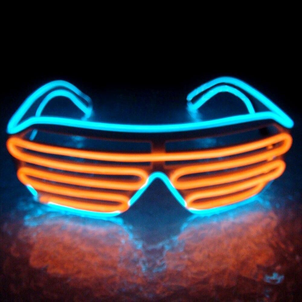 Умный светодиодный пульт дистанционного управления, стекло es, стекло EL Wire, модный неоновый светодиодный светильник в форме затвора, стекло es Rave DJ, яркие вечерние костюмы - Цвет: blue orange