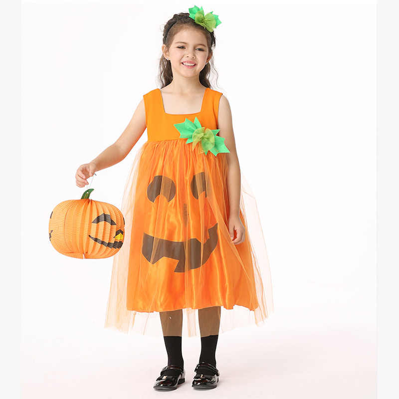 Halloween Costumes for Kids Cosplay sleeveless pumpkin dress Stage Outfits for Children Set  Infant Girls Clothes for Party стоимость