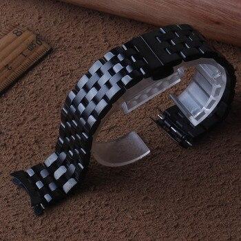16 millimetri 18 millimetri 20 millimetri 22 millimetri 24 millimetri Cinturini cinturino nero del braccialetto in acciaio inossidabile di alta qualità orologio da polso fascia curvo estremità regali speciali