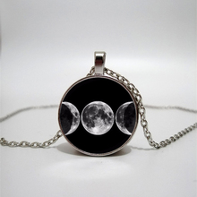 Triple Moon Goddess Pendant Witchcraft Men and Women Necklace Glass Round Necklace Moon Jewelry Handmade Custom Picture triple moon