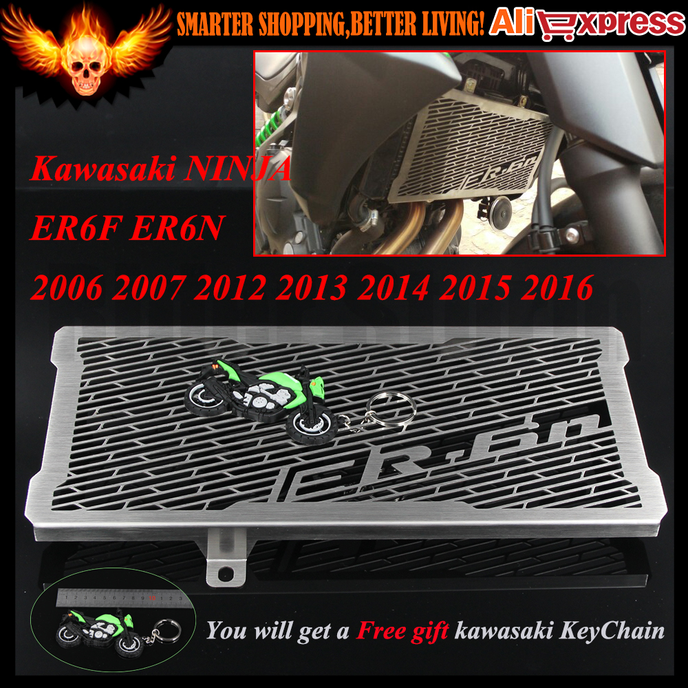 CNC Stainless Steel Motorcycle Radiator Grille Guard Cover Protector For Kawasaki NINJA ER6F ER6N 2006 2007 2012-2016 2013 2014 for kawasaki z900 2017 motorcycle radiator guard gloss stainless steel grille bezel radiator net protective cover