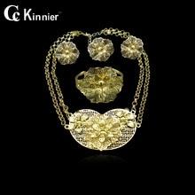 Fashion Dubai gold-color African bead wedding jewelry set african beads jewelry sets Exaggerate necklace bracelet earrings