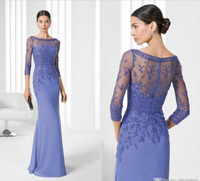 2016 Elegant Sheer Scoop Neck Mother Of The Bridal Dresses With Three Quarter Sleeves Beaded Party