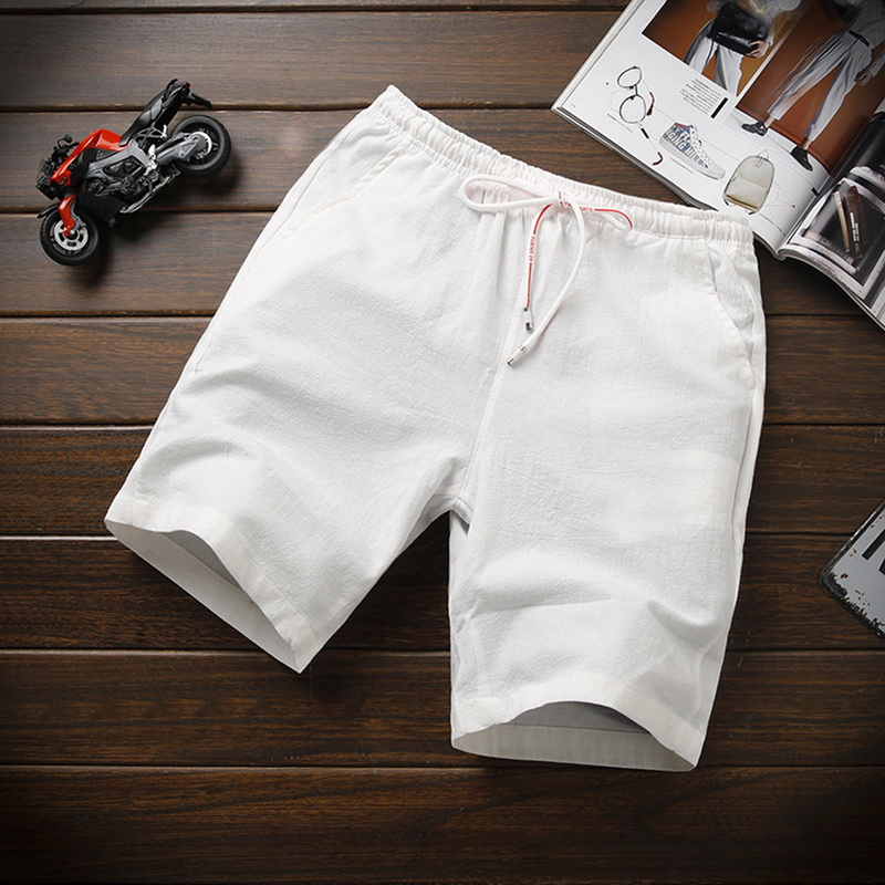 Summer Linen Casual Shorts Men Loose Breathable Knee Length Shorts Homme Drawstring Solid Swimshorts Men Beach Short Pants