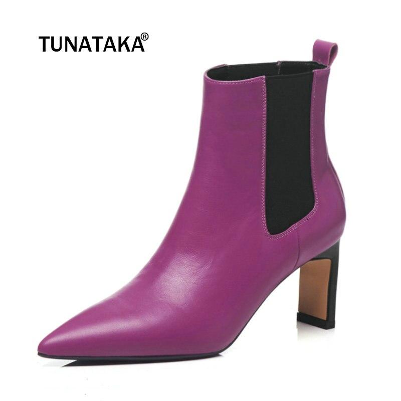 купить Ladies Genuine Leather Square High Heel Chelsea Boots Fashion Pointed Toe Ankle Boots Women Fall Winter Shoes Black Purple по цене 4640.15 рублей