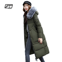 Fitaylor Winter Women Long Jacket Large Fur Collar Hooded Parkas Epaulet Army Green Military Coats Pocket