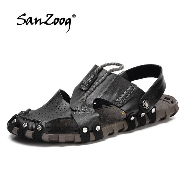 0ed9e032acc0d 2018 Fashion Style Man Sandals Casual Flat Heels Spilit Leather Male Retro Beach  Slipper Men s Roman Summer Shoes