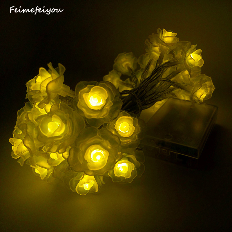 Feimefeiyou Newest Remote Battery Operated Lotus String Lights 2m 20 - Holiday Lighting