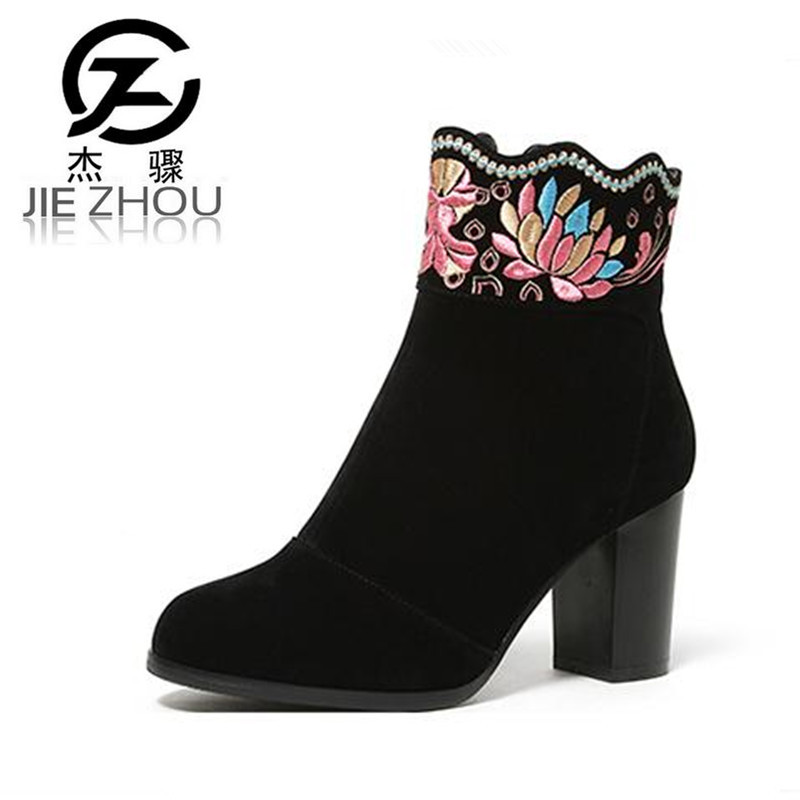 Autumn and winter embroidered suede high-heeled shoes Women Shoes Round toe thick with Martin boots Women ankle boots autumn and winter short cylinder boots with high heels boots shoes martin boots women ankle boots with thick scrub size35 39