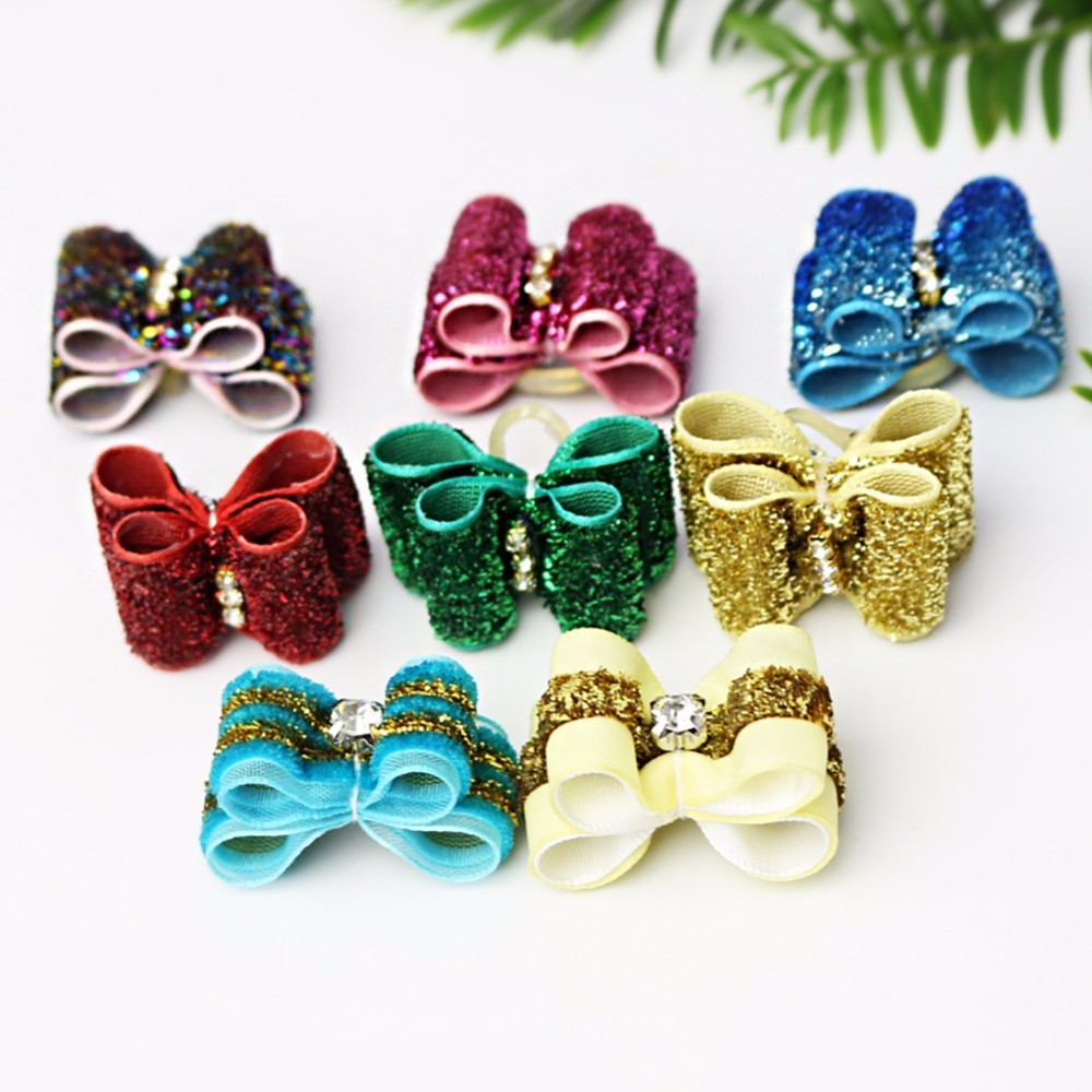 Variety of Styles Pet Bowknot Headdress Decorative Rubber Band (10pcs Packed for Sale) (Delivered at Random with Mixed Colors)