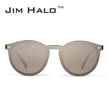 Jim Halo Mirrored Rimless saulesbrilles atstarojoša zibspuldze objektīvam viens gabals Retro Vintage apaļš saulesbrilles sievietēm vīriešiem Eyewear