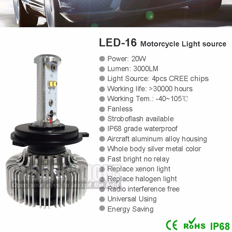 New H4 H6 p43t p15d-25-1 BA20d 20W 3000LM LED Motor Bike Headlight Bulb High Low Daytime Driving Headlamp Motorcycle Light (6)
