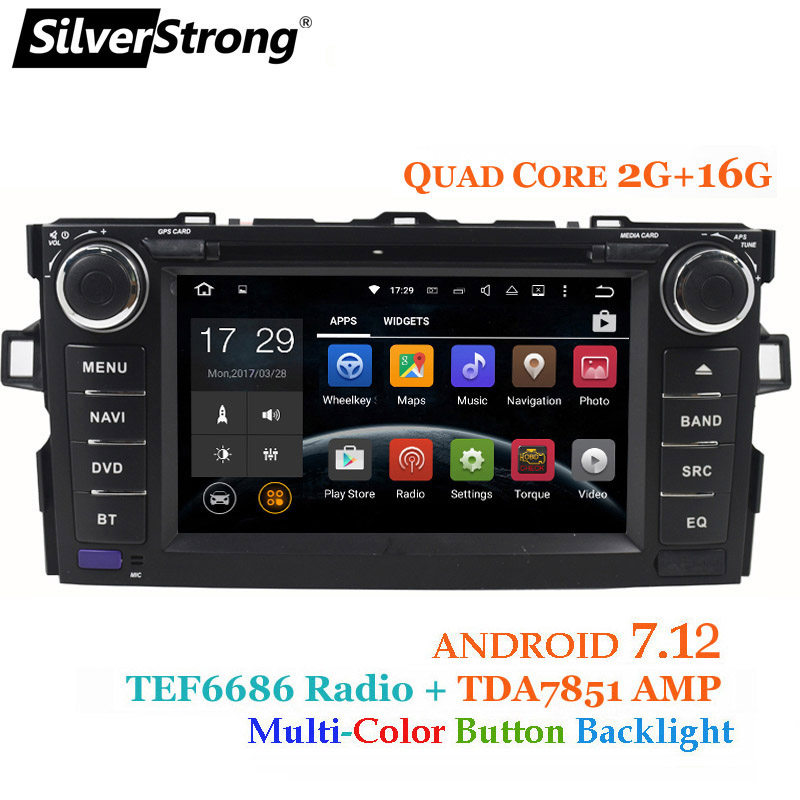 SilverStrong Android7.12 Auto 2DIN per TOYOTA AURIS hatchback 2g + 16g Auto GPS Radio Per Toyota Car DVD