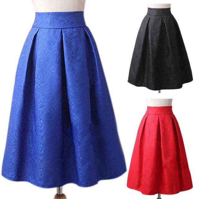 36eb680327 Las mujeres Retro de cintura alta falda elegante falda de Jacquard Midi