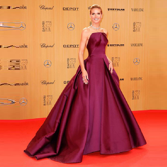 7be50417b5946 2016 Purple Celebrity Dresses Red Carpet Dresses Strapless Evening Dress  Off The Shoulder Prom Dresses Vestido festa Satin Cheap