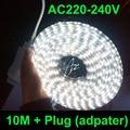 10M/lot led strip 10m waterproof 220V 5050 SMD 60 LED Flexible Strip Light ,warm white/Cool white,60leds/m