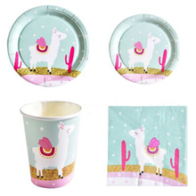 цена Alpaca Birthday Party Decorations Llama Alpaca Disposable Tableware Set Paper Plates/Cups/Napkins For Kids Party Supplies