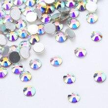Super Glitter Crystal Rhinestones Nail Art Decoration AB Non Hotfix Flatback Glass For Clothing Y016