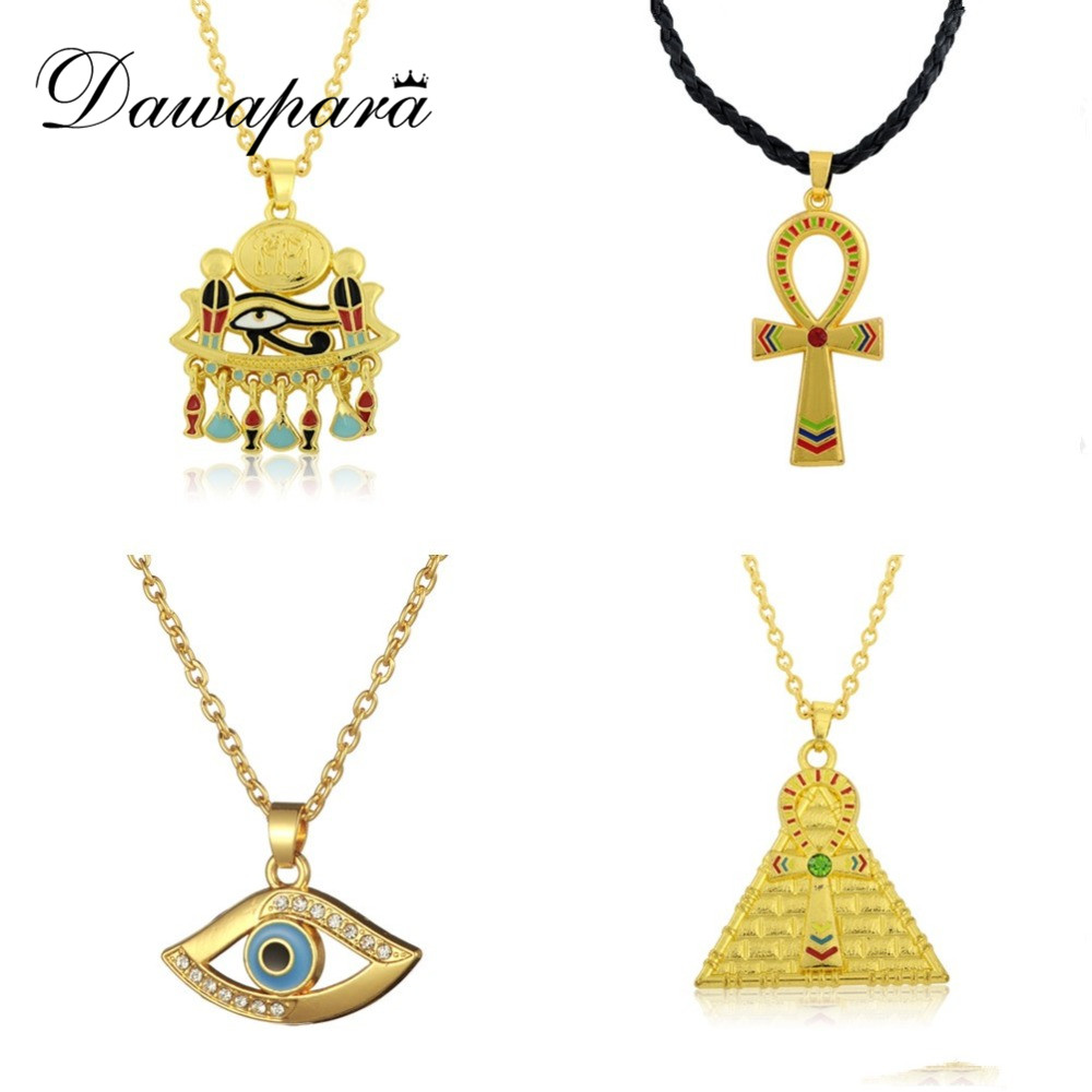 Dawapara Ankh Pendant Cross Pyramid Evil Eye Of Horus Egyptian Jewelry Male Necklace Gold -color Chain Men Accessories