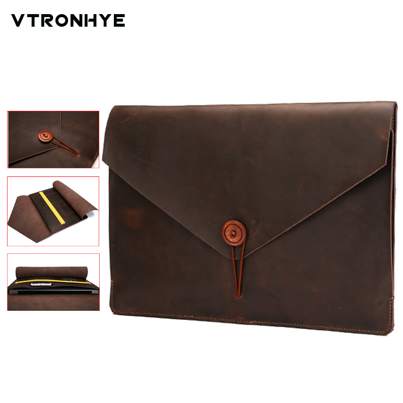 Leather Laptop Bag for Macbook Air Pro Retina 11 13 15 Quality Business Laptop Sleeve for Mac book Pro 13 15 2016 A1706 A1708 image
