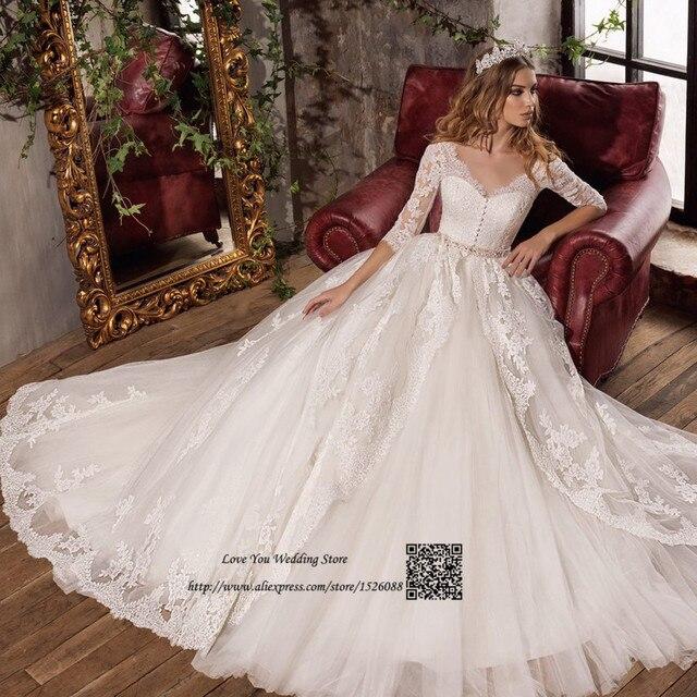 Vestido De Noiva Renda Vintage Lace Princess Wedding Dress: Gelinlik Robe De Mariage Vintage Wedding Dress 2017