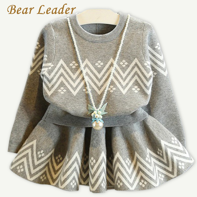 Bear Leader Girls Dress 2018 Winter Geometric Pattern Dress Long Sleeve Girls Clothes Top Coat+ Tutu Dress Sweater Knitwear 2pcs bear pattern cloth wall art 2pcs