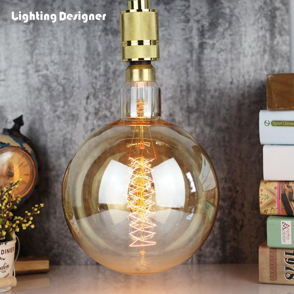 G200 grande taille vintage edison ampoule E27 base edison lumière filament spirale 60 W 220 V 110 V restaurant géant lampe décorative énorme ampoule