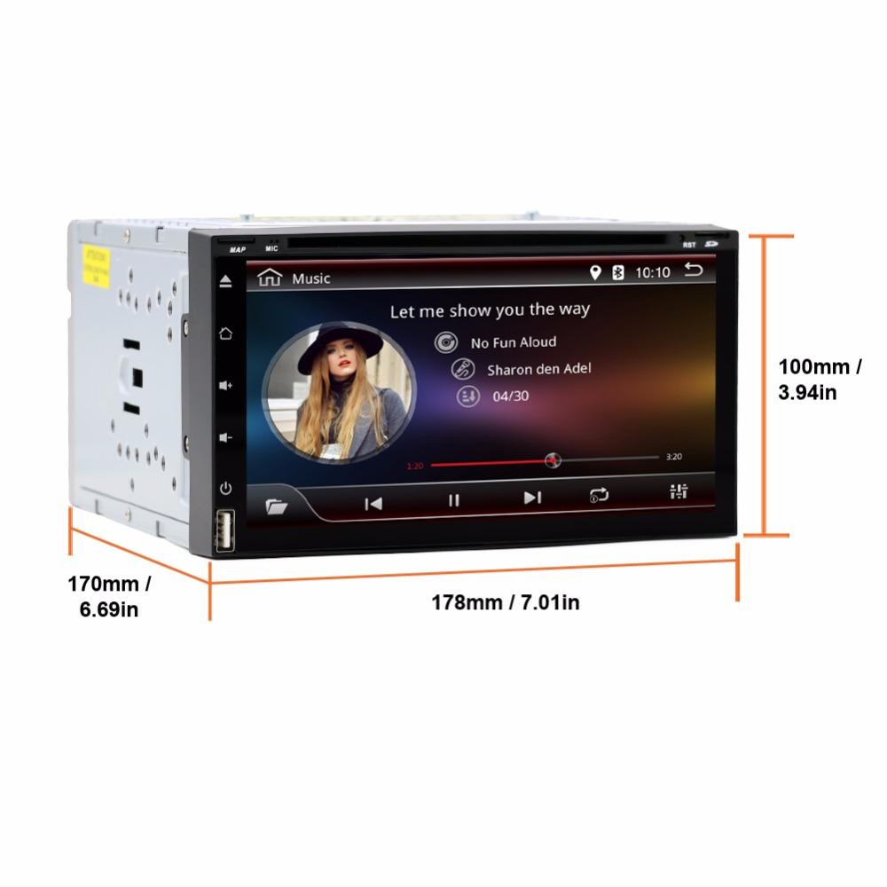2 Din Android 6.0 Car DVD Player GPS TWO 2din HD RDS 7 Inch Quad Core In Dash Radio Navigation PC Stereo Video Free Cam Map Card