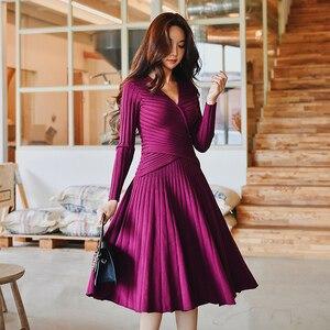 Image 4 - Dabuwawa hiver élégant robe tricotée costumes femmes Vintage fête de noël Rose violet une ligne robe ensemble pour filles dame DN1DSA016