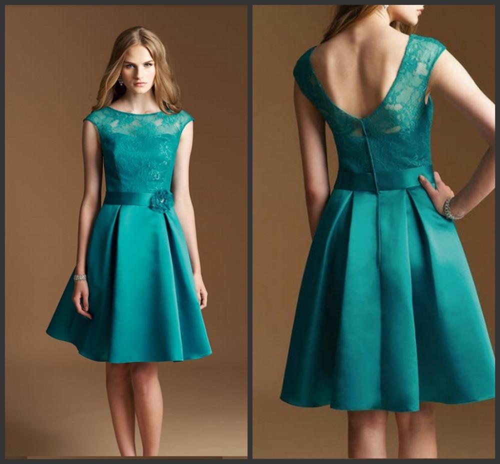 Bridesmaid Dresses 2016 Under 100 Green Knee Length Satin A Line Lace Illusion Neckline Cap Sleeve