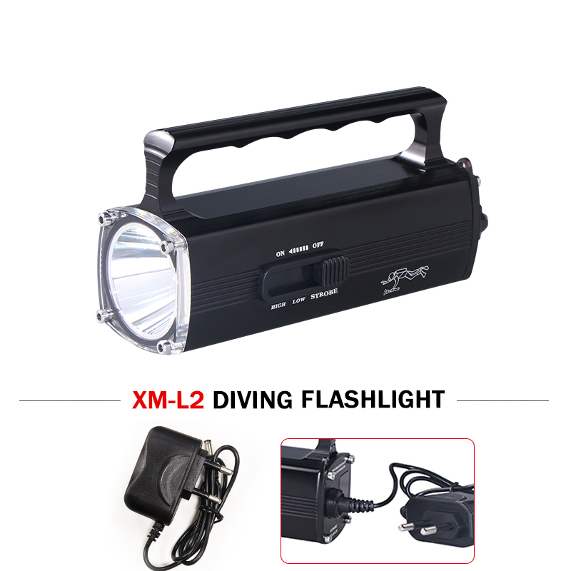 Scuba flashlight 100M underwater torch light Built-in battery professional diving flashlight led xm l2 charge led flashlights 100m underwater diving flashlight led scuba flashlights light torch diver cree xm l2 use 18650 or 26650 rechargeable batteries