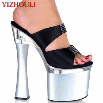 Sexy Platform Summer Shoes Female Elegant 18cm Ultra High Heels Rhinestone Slippers Lady Fashion 7 Inch High Heels