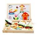 Multifuncional Educacional Farm Animal De Madeira Jigsaw Puzzle Brinquedos Magnéticos Desenho Cavalete Bordo Imã Crianças Presentes Do Bebê
