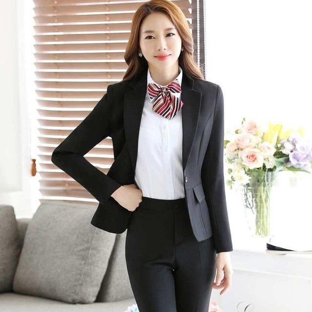 Blazer hiver femme taille grande automne 2016 mulheres conjuntos de roupas calças ternos de negócio do sexo feminino profissional de negócios formal B108