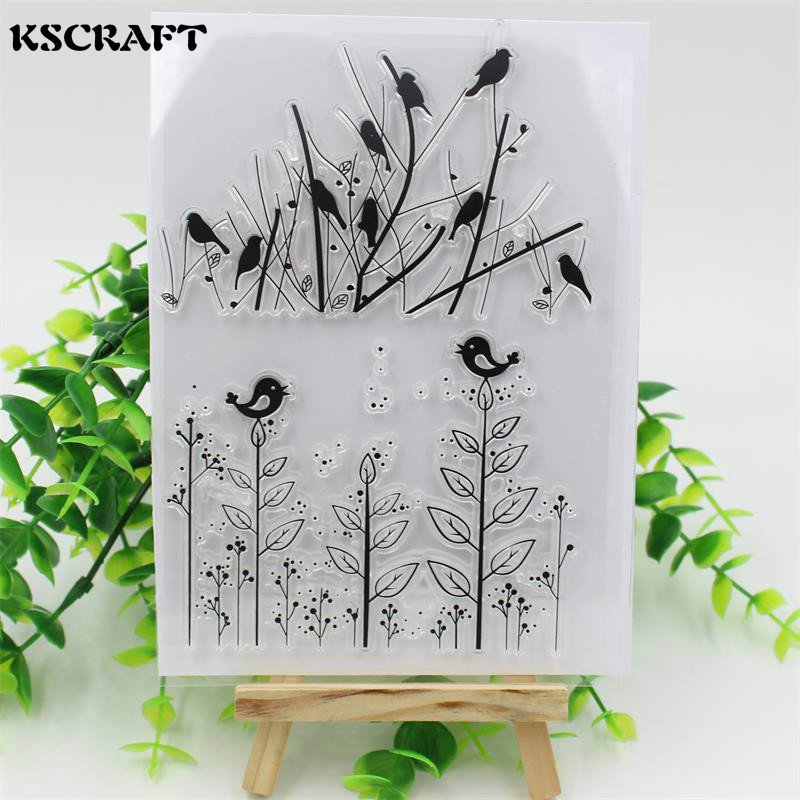 KSCRAFT Lovely Birds Transparent Clear Silicone Stamps for DIY Scrapbooking/Card Making/Kids Fun Decoration Supplies kscraft butterfly and insects transparent clear silicone stamps for diy scrapbooking card making kids fun decoration supplies