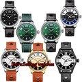 42 мм Parnis с сапфирами и кристаллами японские 21 драгоценности автоматические самоуправляемые механические часы 5Bar зеленый циферблат Мужские...