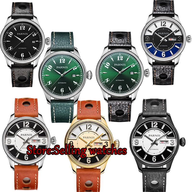 42mm Parnis Sapphire Crystal Japanese 21 jewels Automatic Self-Wind Movement Mechanical watches 5Bar Green dial Men's watches цена 2017