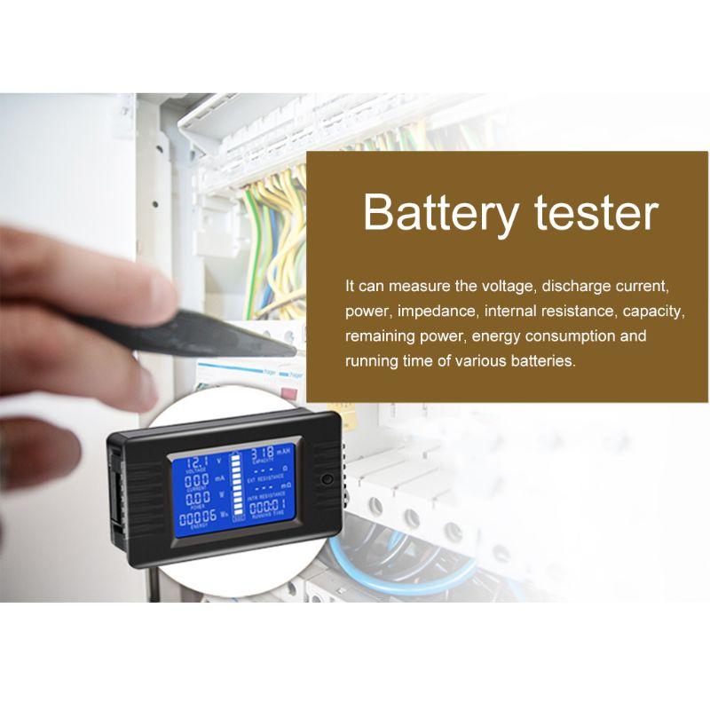 300A 100A 200A BIlinli Testeur de Batterie DC 0-200V 0-300A Voltm/ètre Amp/èrem/ètre Puissance Imp/édance Capacit/é /Énergie Compteur de Temps Multim/ètre 50A