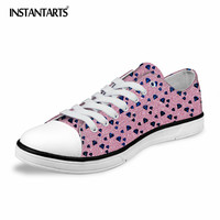 INSTANTARTS 3D Jewel Printing Women's Vulcanize Shoes Fashion Cute Low Top Canvas Shoes for Girls Students Summer Lacing Sneaker