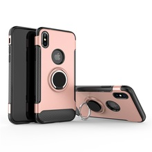 Anti knock 360° Rotating TPU+PC Ultra Thin Carbon Fiber Ring Bracket Mobile Phone Case For iPhone Xs Max 6.5 Skid