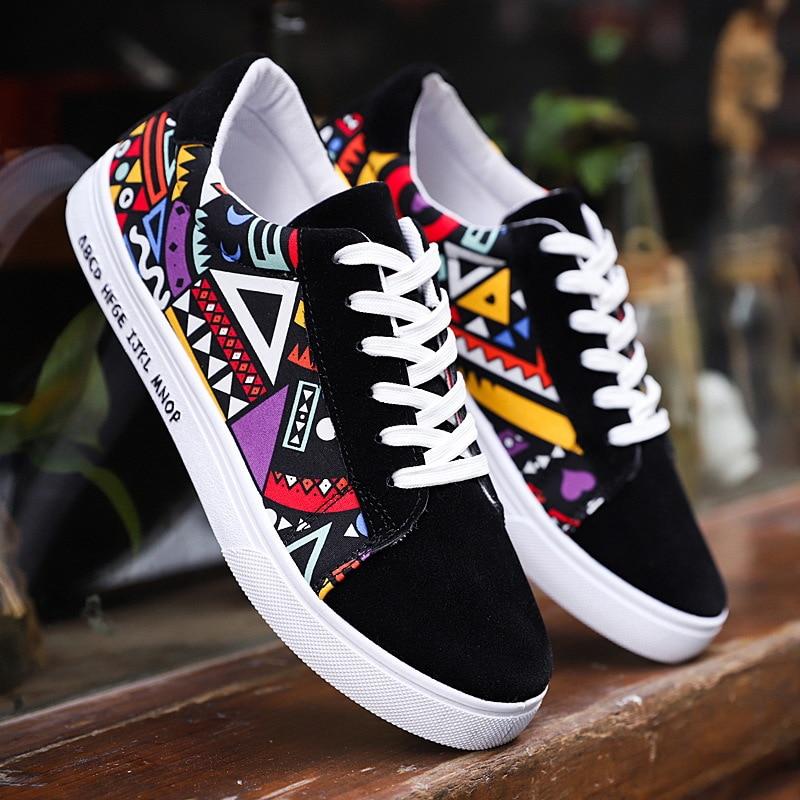 eb21f6b8 Модная уличная мужская обувь, повседневная Демисезонная обувь на шнуровке в  стиле хип-хоп, Chaussures Homme, парусиновые кроссовки смешанных цвето.